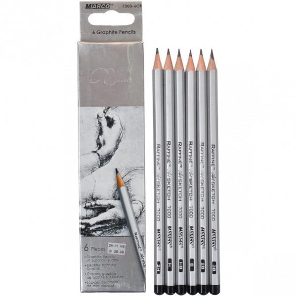 Карандаши простые наборMarco Raffine 6шт деревянные графитные для рисования 3B 2B В НВ Н 2Н