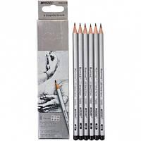 Карандаши простые наборMarco Raffine 6шт деревянные графитные для рисования 3B 2B В НВ Н 2Н, фото 1