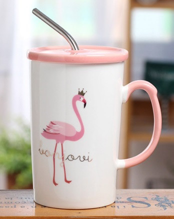 Чашка с крышкой и трубочкой Flamingo 350 мл