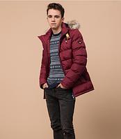 Куртка подростковая зимняя Braggart Youth бордовая с мехом топ реплика