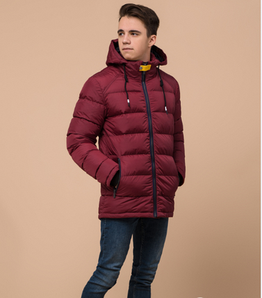 Куртка подростковая зимняя Braggart Youth бордового цвета топ реплика, фото 2