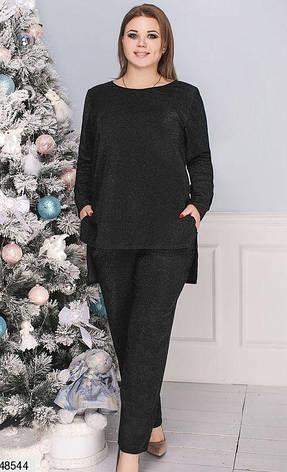 Нарядный вечерний женский брючный костюм черный размеры: 50-60, фото 2