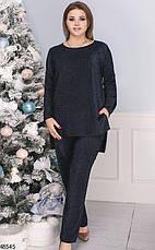 Нарядный вечерний женский брючный костюм черный размеры: 50-60, фото 3