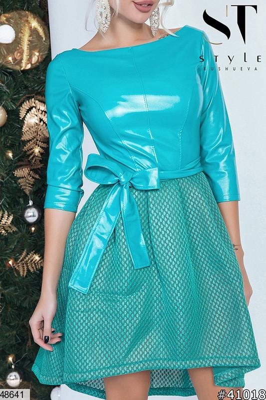 Стильное вечернее платье цвета-ментоловый размеры:42,44,46