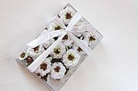 Набор декоративных цветочков с листиками в коробочке белого цвета, фото 1