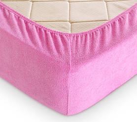 Махровая простынь на резинке с наволочками (розовый) Турция
