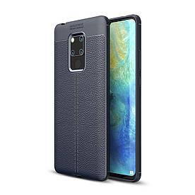Чехол накладка для Huawei Mate 20 X силиконовый, Фактура кожи, темно-синий