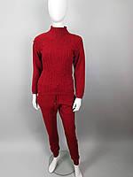 Костюм женский зимний трикотажный(свитер+штаны) в бордовом, сером, чёрном и голубом цвете