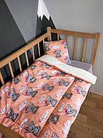 Детское одеяло хлопок, плюш, утеплитель 90*120 см