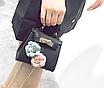 Сумка женская клатч мини с цветами детская Черный, фото 5