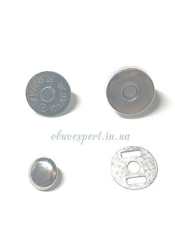 Кнопка магнитная наружная на заклепке 18 мм Никель, фото 2