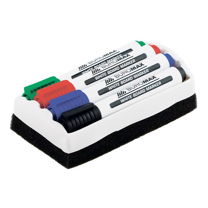 Набор маркеров с губкой Buromax Whiteboard BM.8800-84 круглый 2-4 мм 4 цвета