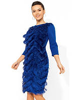 Синее праздничное платье с бахромой Д-979
