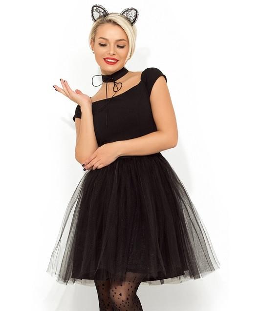 Черное коктейльное платье с фатиновой юбкой Д-949