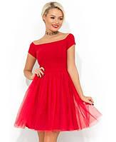 Красное коктейльное платье с фатиновой юбкой Д-443