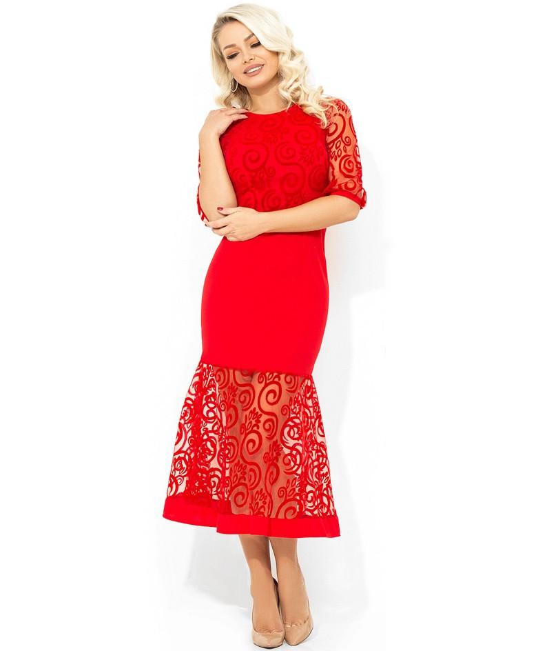 365492d0b52 Красное вечернее платье-миди покроя русалка с узором Д-1677 - KORSETOV -  Магазин