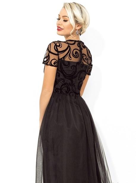 ebb4e2f8b57d520 Платье-коктейль с завышенной талией черное Д-1671, цена 999 грн., купить в  Киеве — Prom.ua (ID#836078334)