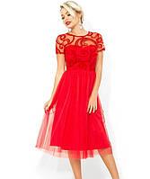e2832f91901b892 KORSETOV - Магазин женской одежды и белья. г. Киев. Платье-коктейль с завышенной  талией красное Д-1670