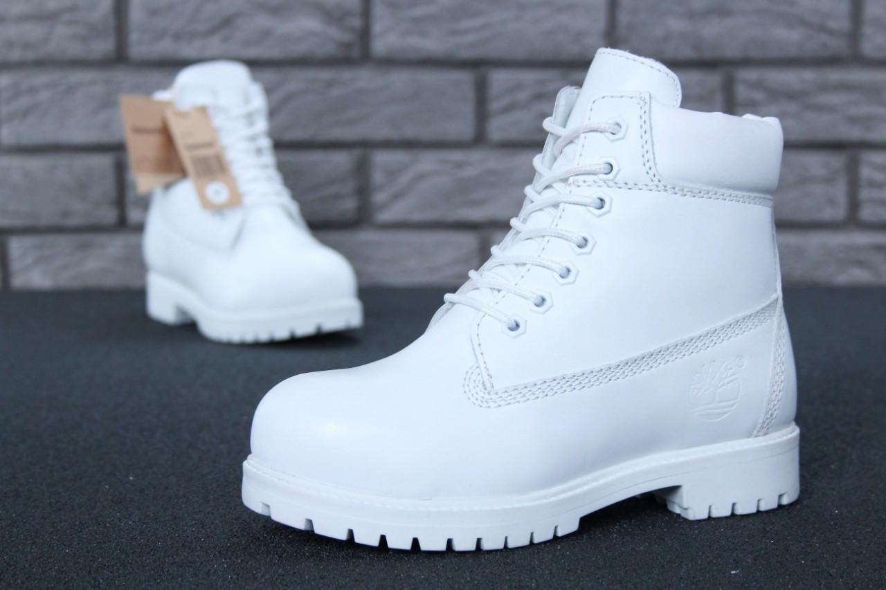 Зимние женские ботинки Timberland White Leather & Fur  (реплика)