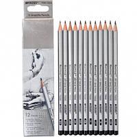 Карандаши простые Marco Raffine 12шт деревянные графитные для рисования 3H-1, 2H-1, H-2, HB-2, B-2, 2B-2, 3B-1