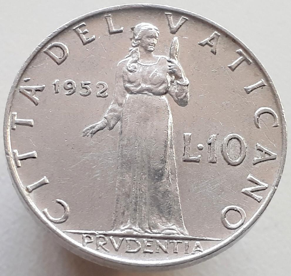 Ватикан 10 лир 1952
