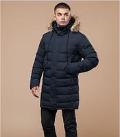 Молодежная удлиненная зимняя куртка с опушкой Braggart Youth синяя топ реплика