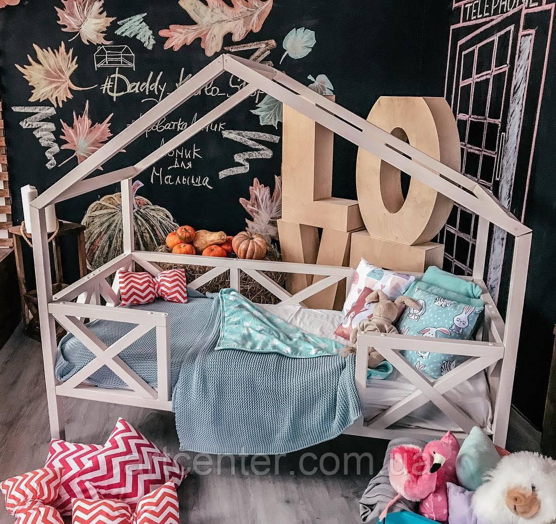 Кроватка-домик на ножках, нежно розового цвета