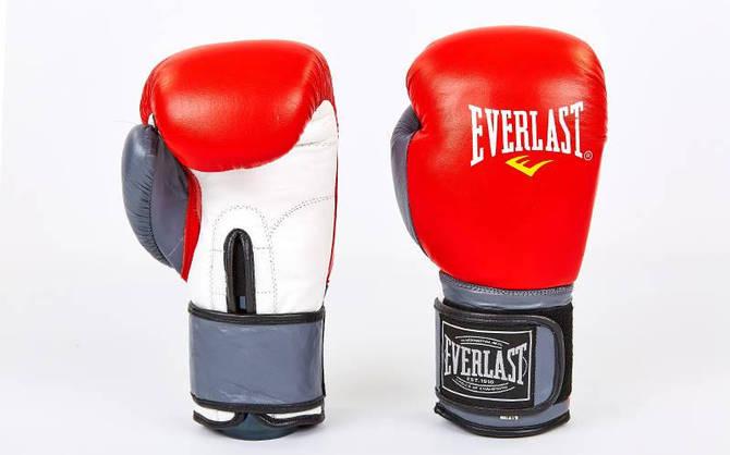 Рукавички боксерські шкіряні на липучці ELAST MA-6750-R (вага 10-12oz, червоний-сірий)