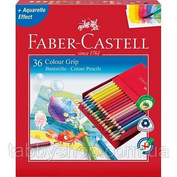 Акварельные трехгранные карандаши Faber Castell GRIP 112436 в подарочной коробке (36 цв.)