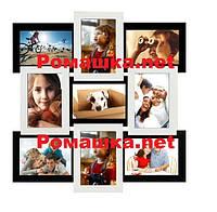 Фотоколлаж на стену 9 фото (дерево) 50*50 см ( рамки для фотографий ) ФР0010 Черно-белый