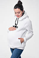 """Тёплый худи для беременных и кормящих мам с вышивкой """"WHITE"""""""