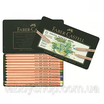 Пастельні кольорові олівці Faber Castell PITT 112112 в металевій коробці, 12 цв.