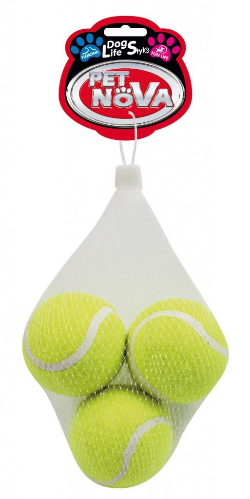 Теннисные мячи c пищалкой Pet Nova 6 см (3шт)