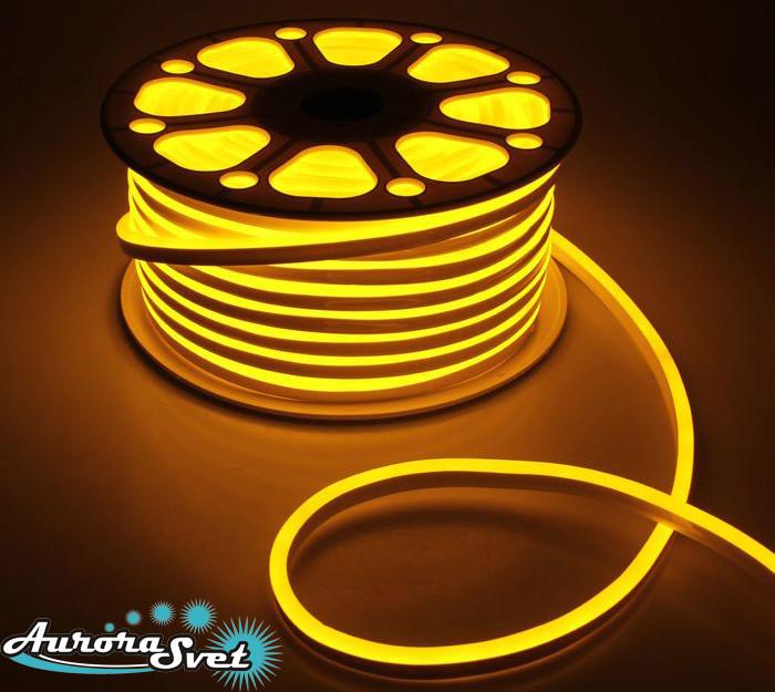 Гибкий LED неон желтый 220 В защита IP67. Светодиодная гирлянда. Гирлянда LED.