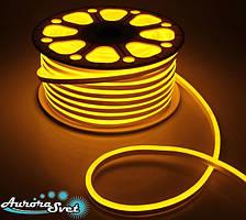 Гнучкий LED неон жовтий 220 В захист IP67. Світлодіодна гірлянда. Гірлянда LED.
