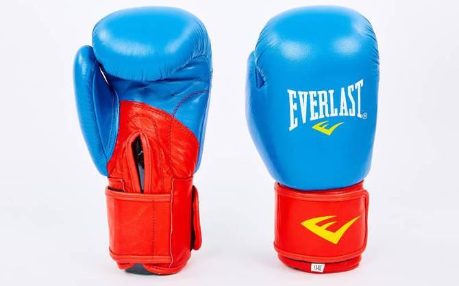Рукавички боксерські шкіряні на липучці ELAST MA-6750-B (вага 10-12oz, синій-червоний)