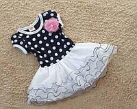 """Платье детское на девочку """"Горошек белый с пышной юбкой"""", платье на утренник"""