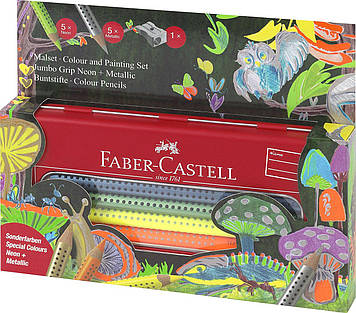 Акварельні олівці Faber Castell JUMBO GRIP 110940 в металевій коробці (10 цв.)