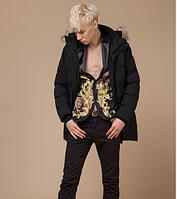 Молодежная куртка зимняя Braggart Youth с опушкой черная топ реплика