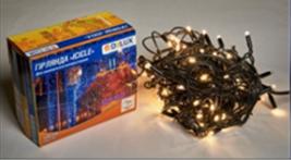 Светодиодная наружная гирлянда DELUX STRING 100LED 10m 20flash(черный провод,теплый белый цвет диода)