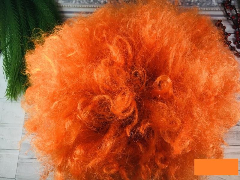 Парик большой кудрявый оранжевый