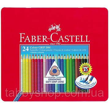 Акварельные трехгранные карандаши Faber Castell GRIP 112423 в металлической коробке (24 цв.)