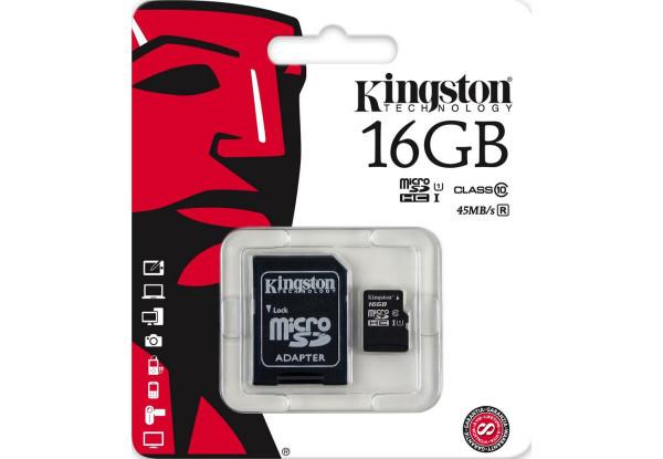 Карта памяти Micro SD 16 Gb Kingston Class 10 + Адаптер