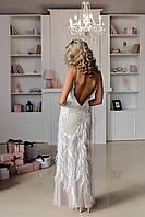 """Вечернее платье белое """"Mishel"""" на телесной подкладке молочное кружево отделанное бисером,  кристаллами"""