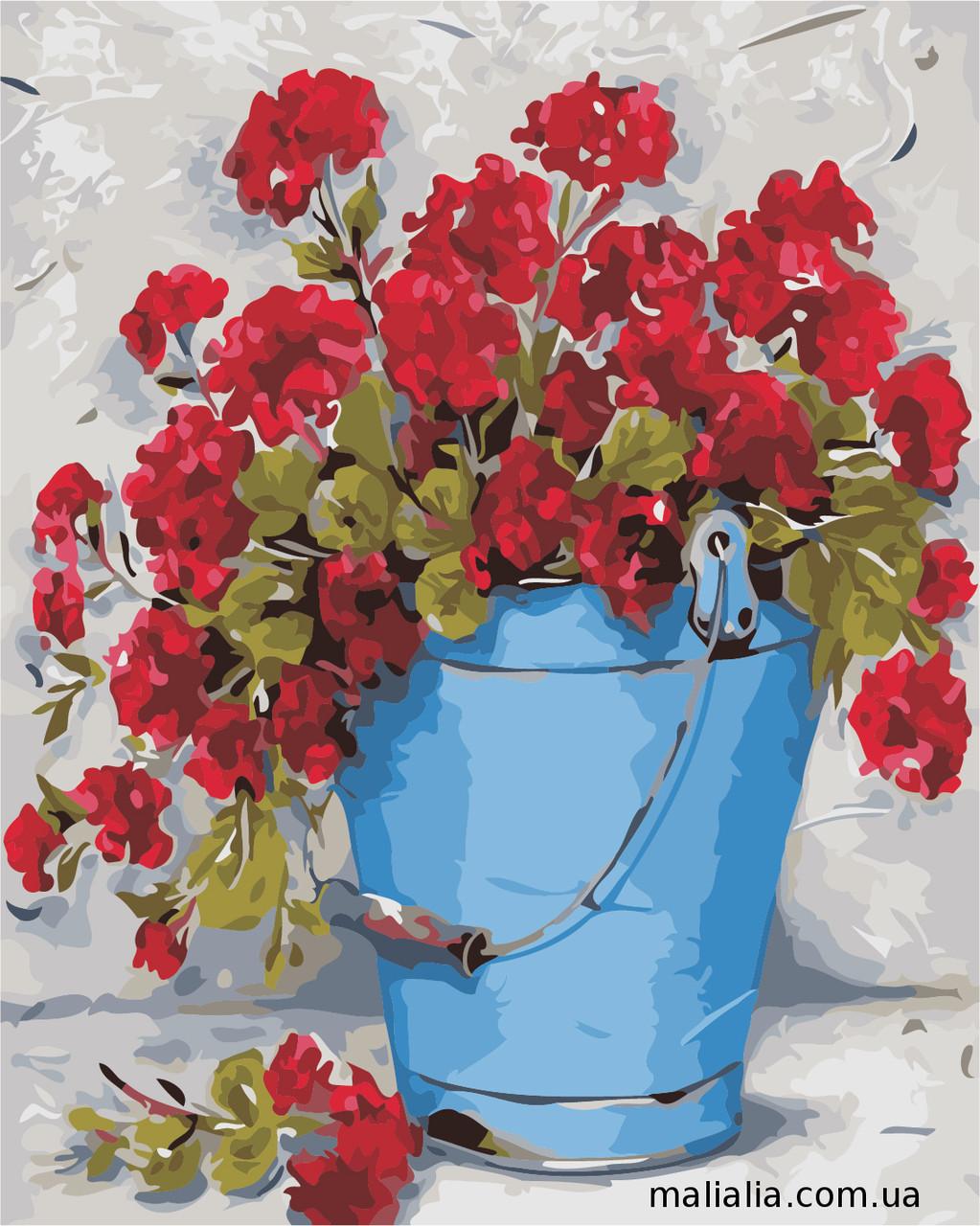 Картины по номерам 40*50 см В КОРОБКЕ Цветы в ведёрке Artstory