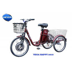 Электровелосипед HAPPY 2018 ( задняя скорость, задний габаритный фонарь, передняя корзинка с крышкой
