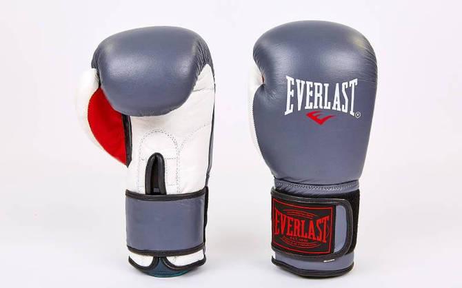 Рукавички боксерські шкіряні на липучці ELAST MA-6750-GR (вага 10-12oz, сірий-білий)
