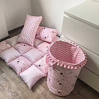 """Корзина для игрушек и игровой ковёр """"Розовое небо"""""""