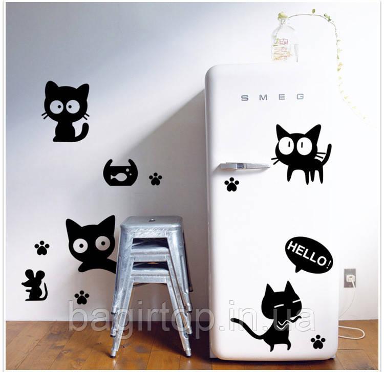 Інтер'єрна наклейка - Чорні коти