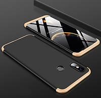 Чехол GKK 360 для Xiaomi Mi 8 черно-золотой
